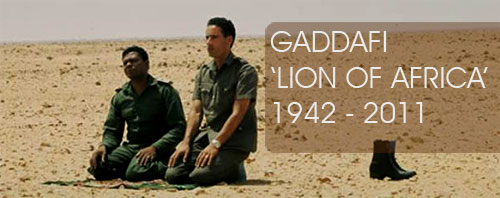 Gaddafi Praying in Desert of Libya